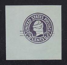 U451 2c on 3c Dark Violet on Blue, die 1, Mint Cut Square