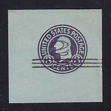 U451c 2c on 3c Dark Violet on Blue, die 6, Mint Cut Square