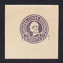 U458a 2c on 3c Dark Violet on White, die 5, Mint Full Corner, 50 x 50