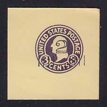 U459 2c on 3c Dark Violet on Amber, die 1, Mint Full Corner, 50 x 50