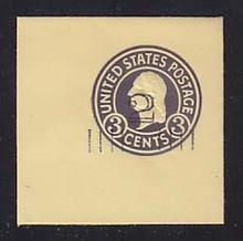 U459c 2c on 3c Dark Violet on Amber, die 7, Mint Cut Square