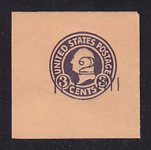 U460a 2c on 3c Dark Violet on Oriental Buff, die 1, Mint Full Corner, 50 x 50