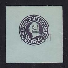 U461 2c on 3c Dark Violet on Blue, die 1, Mint Full Corner, 50 x 50