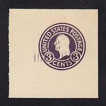U468a 2c on 3c Dark Violet on White, die 5, Mint Full Corner, 50 x 50