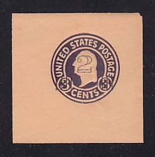 U470 2c on 3c Dark Violet on Oriental Buff, die 1, Mint Cut Square