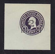 U471a 2c on 3c Dark Violet on Blue, die 5, Mint Full Corner, 50 x 50
