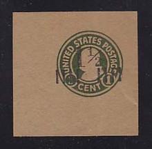U500 1 1/2c on 1c Green on Brown (unglazed), Mint Cut Square, 50 x 50