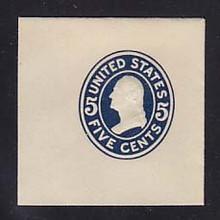 U418a 5c Blue on White, die 1, Mint Cut Square