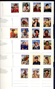 UX178-97 UPSS# S191-210 19c Legends of the West Mint Postal Cards, Opened set of 20 Postal Cards