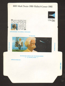 UC60, UPSS #ALS-26a 36c Mark Twain, UNFOLDED, Reverse Die Cut