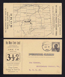 UX20 Wellsboro, Pennsylvania Tioga County Savings Bank, map of counties
