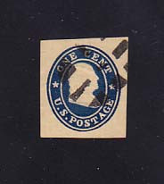 W25 1c Blue on Manila, die 3, Used Cut Square, 24 x 27