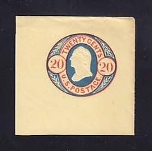 U43 20 Red & Blue on Buff, Mint Cut Square, 47 x 47