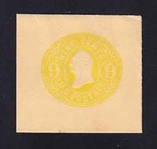 U66 9c Lemon on Buff, Mint Full Corner, 46 x 43