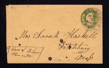U18a UPSS # 28a 10c Yellow Green on Buff, die 2, Used Entire, CA to MA, reduced at left