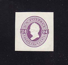 U99 24c Purple on White, Mint Cut Square, 35 x 35