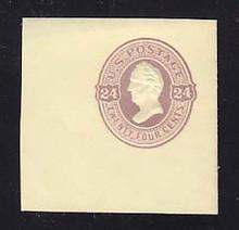 U100 24c Purple on Amber, Mint Cut Square, 50 x 50