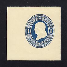 U109 1c Dark Blue on Amber, die 1, Mint Full Corner, 46 x 46