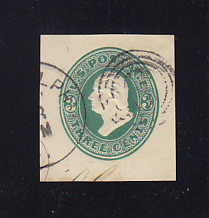 U168 3c Green on White, die 3, Used Cut Square, 35 x 37
