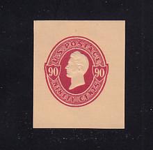 U214 90c Carmine on Oriental Buff, Mint Cut Square, 37 x 43