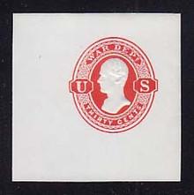 UO43 30c Vermillion on White, Mint Cut Square, 50 x 50