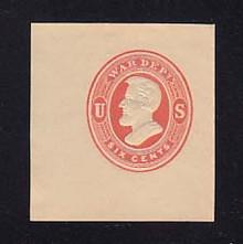 UO58 6c Red on Cream, Mint Cut Square, 44 x 47