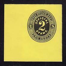 UO1 2c Black on Lemon, Mint Full Corner, 50 x 50