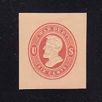 UO58 6c Red on Cream, Mint Cut Square, 35 x 39
