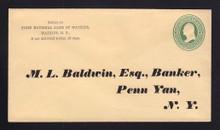 U84 UPSS # 199 3c Green on Cream, Mint Entire, Printed Address