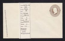 U91 UPSS # 223 10c Brown on White, Mint Entire, GR Misprinted, UNUSUAL