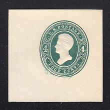 U250 4c Green on White, die 1, Mint Cut Square, 47 x 47