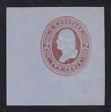U267 2c Brown on Blue, Mint Cut Square, 47 x 47