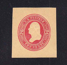 W287 2c Red on Manila, die 1, Mint Cut Square, 37 x 41