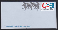 UC44a, UPSS #ALS-12 15c Birds in Flight, with AEROGRAMME, Mint, FOLDED