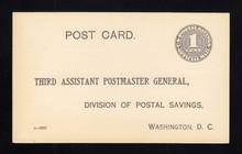 UZ1 UPSS# O1 1c Official Mail, black, Unused Postal Card