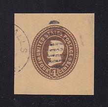 W376 4c Brown on Manila, die 3, Used Cut Square