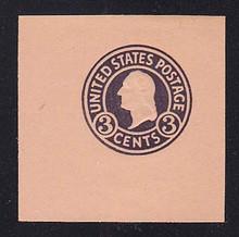 U438 3c Dark Violet on Oriental Buff, die 1, Mint Cut Square, 50 x 50