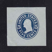 U418c 5c Blue on Blue (error), die 2, Mint Cut Square, 43 x 42, Bend LL