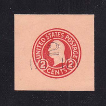 U456a 2c on 2c Carmine on Oriental Buff, die 5, Mint Cut Square, 43 x 41