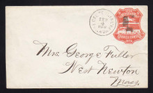 U218 UPSS # 643-3 3c Red on White, die 1, Used Entire from Centennial, Bomar P76-01