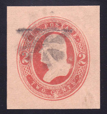 U242 2c Red on Fawn, 3 1/2 Links above left 2, Used Cut Square, 33 x 36 RARE, PF Cert