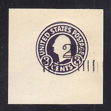 U458d 2c on 3c Dark Violet on White, die 1, DOUBLE Surcharge, Mint Cut Square, 47 x 47