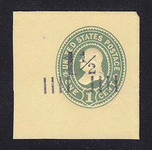 U489 1 1/2c on 1c Green on Amber, Mint Full Corner, 44 x 44
