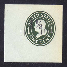 U493 1 1/2c on 1c Green on Blue, die 4, Mint Cut Square, 47 x 47