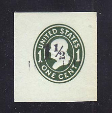 U493 1 1/2c on 1c Green on Blue, die 4, Mint Cut Square, 41 x 44