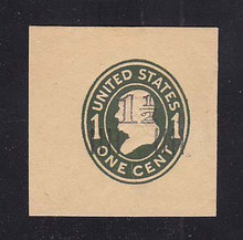 U514 1 1/2c on 1c Green on Manila, die 1, Mint Full Corner, 45 x 45