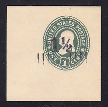 U488 1 1/2c on 1c Green on White, Mint Full Corner, 50 x 50