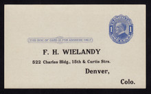 UX21e UPSS# S28f 1c William McKinley, Blue on bluish, Four Pointed Arcs, Type 1, Unused Postal Card