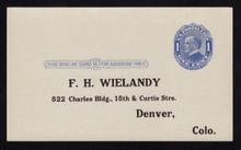 UX21e UPSS# S28f 1c William McKinley, Blue on bluish, Four Pointed Arcs, Type 1, Unused Postal Card