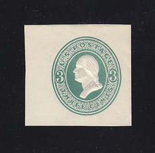 U159 3c Green on White, die 1, Mint Cut Square, 39 x 37